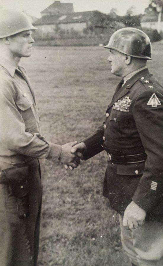 S/Sgt. Rex D. Clark and Maj. Gen. E. N. Harmon